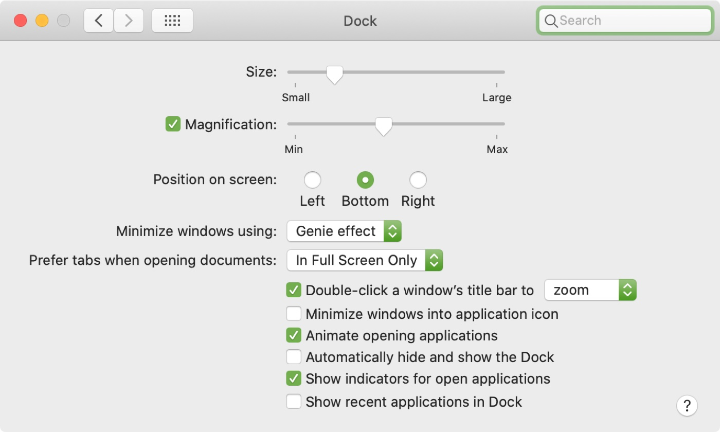 Dock Preferences Mac