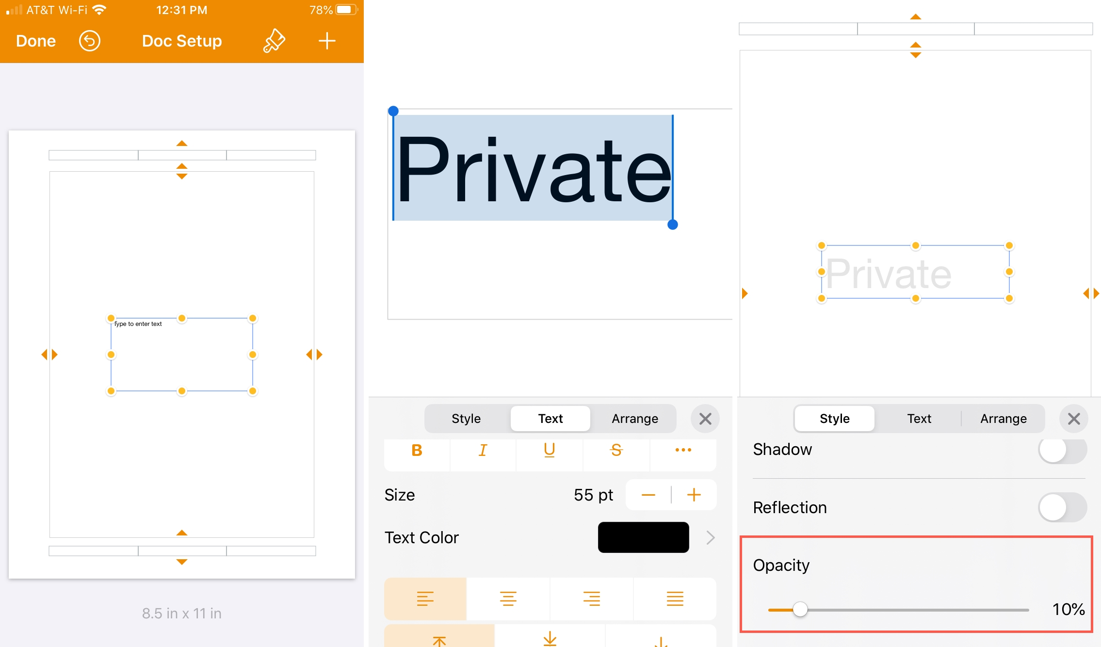 Pages Document Setup Opacity iPhone