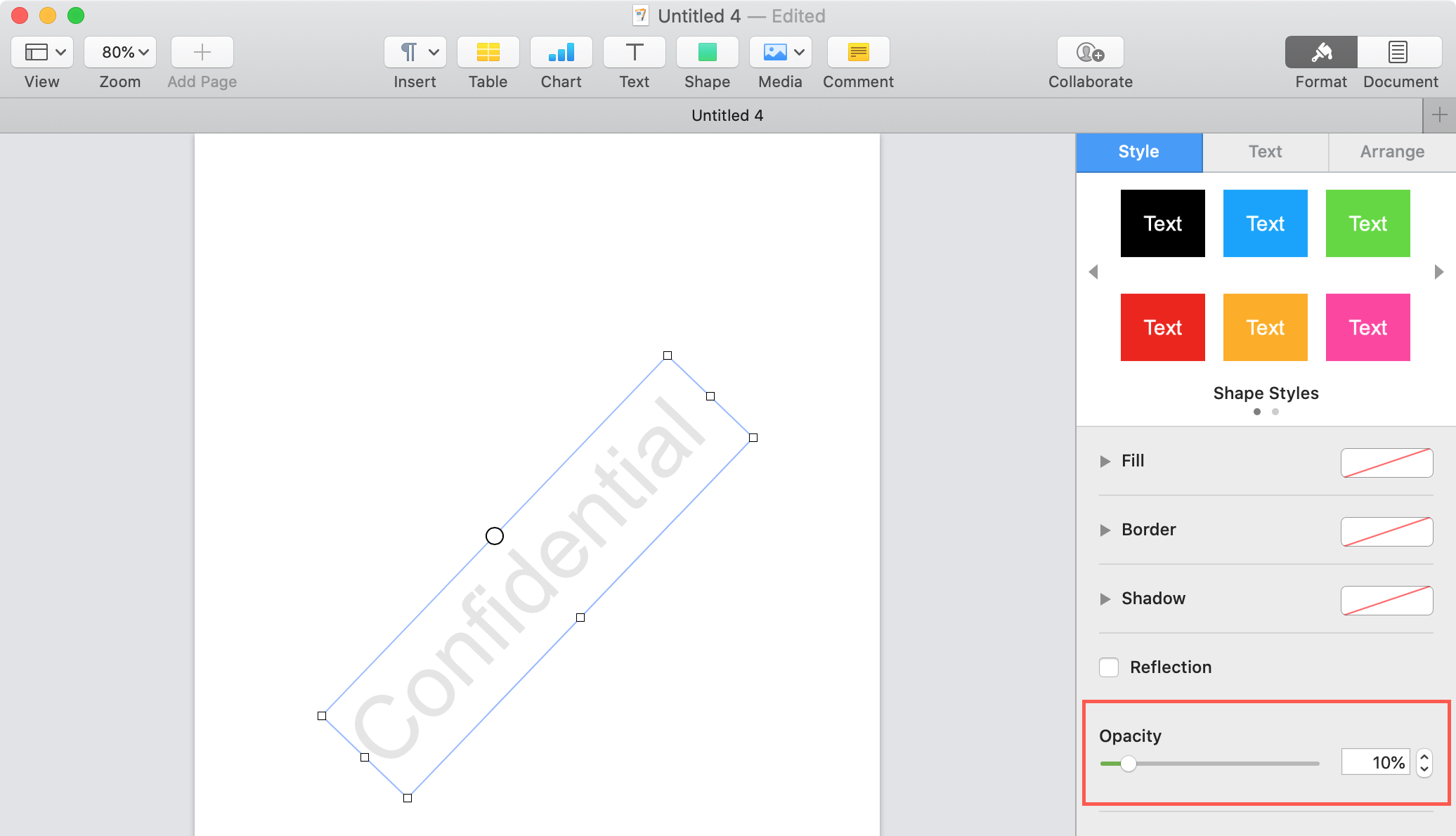 Pages Object Opacity Mac