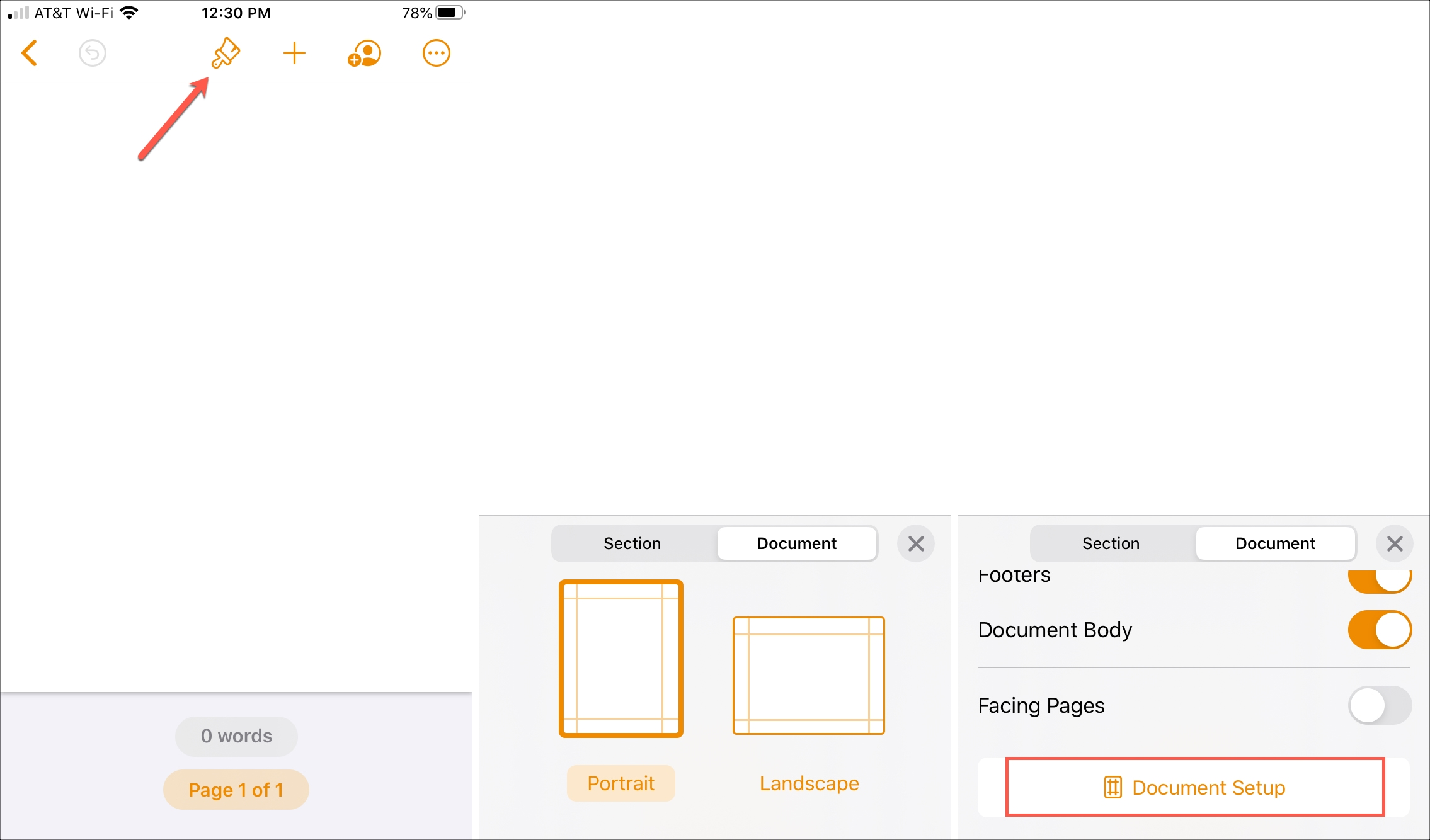 Pages Style Document Setup iPhone